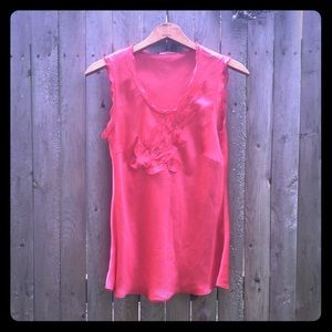 Silky , feminine bright coral pink blouse !
